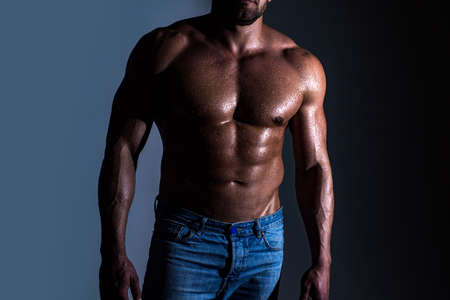 Naked man. Bare torso of gay.