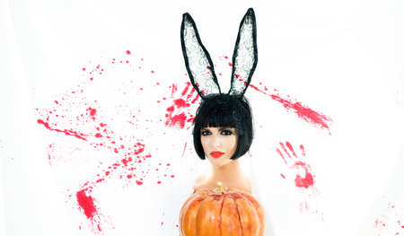 Beautiful young woman in bunny ears with pumpkin. Bloody halloween. Sexy woman bunny rabbit. Girl with pumpkin. Happy Halloween. Cute girl. Halloween costume party. Bloody white background. 版權商用圖片