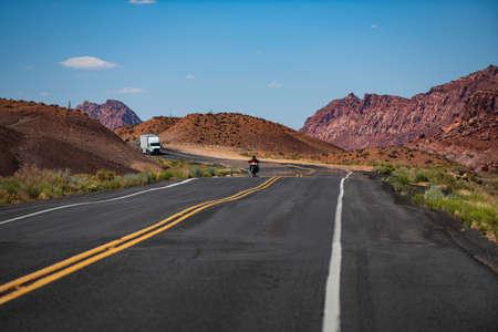Asphalt road. American roadtrip. Scenery with highway.