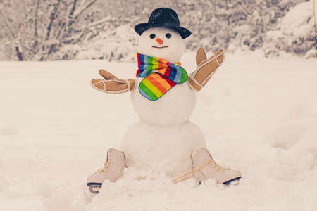 Funny snowman with a carrot instead of a nose and in a warm knitted hat on a snowy meadow on a blurred snow background. The morning before Christmas. New Year greeting card.