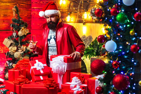 Hipster santa claus. New year mood. Christmas Celebration holiday. New year party.