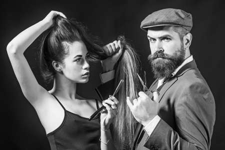 Barber shop design. Hair Stylist and Barber. Bearded man hipster wiht beauty woman. Fine Cuts. Portrait woman with long hair.