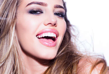 Dental concept, beauty woman white teeth. Dental whiten smile concept. Open mouth and healthy toothy. Dent and stomatology concept with woman smiling face. Stok Fotoğraf