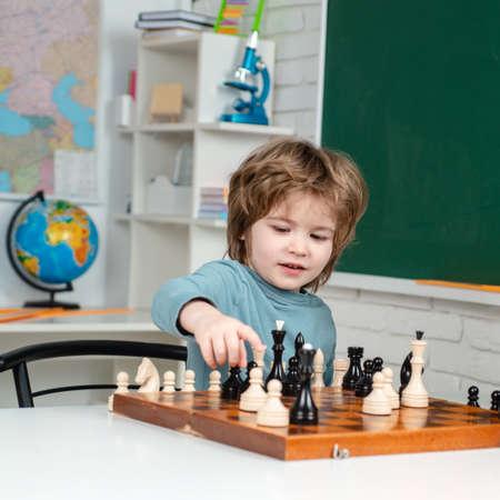 Intelligent, smart kids. Games good for brain intelligence concept. Kids chess school. Chess, success and winning.