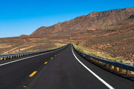 Route 66 in California. Asphalt road in USA. American roadtrip.