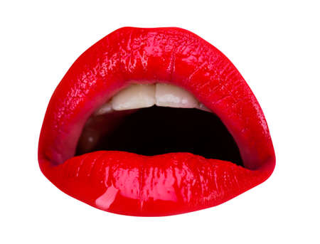 Open mouth close-up. Wow expression. Art lips, awesome and surprising emotions. Sexy plump lip. Isolated on white.