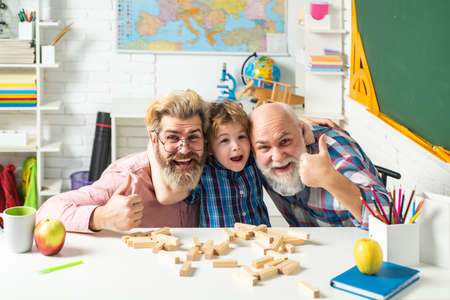 Happy man family, father teaching son. Grandfather educated Grandson.