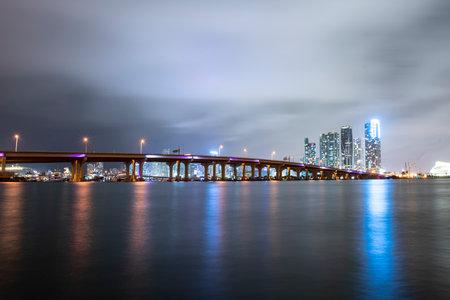 Florida city Miami skyline. Skyscrapers at the night. USA landscape.