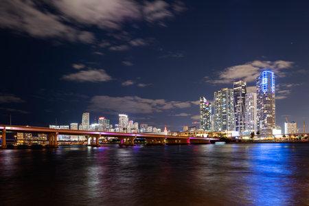 Miami night. Florida. Cityscape. City downtown skyscrapers. USA. Imagens