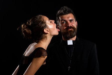Seductive monk. Priest sin. Church Pastor with nun.