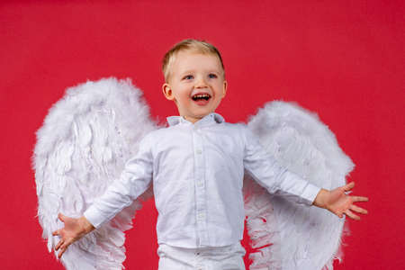 Angel children girl with white wings, isolated on red. Stock fotó