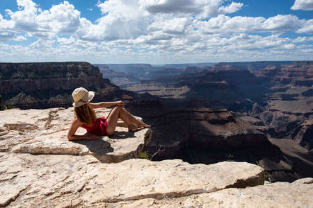 Woman in Grand Canyon National Park. USA traveling. World national landmark.