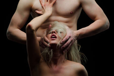 Oral concept. Domination and submission. Couple sex. Naked body.