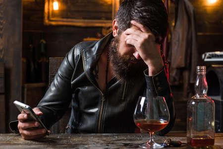 Sad lonely man feeling melancholy. Actual social problem. Social media today. Drug addict or medical abuse concept.