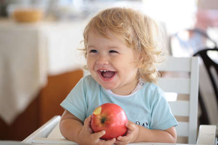 Laughing cute child eating apple. Cute baby eat apples. Portrait of cute smiling laughing Caucasian child kid sitting in high chair eating apple fruit.