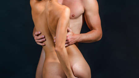 Naked couple in love with body, copy space