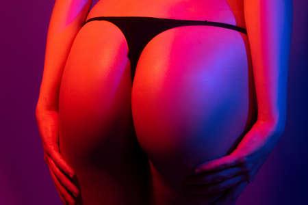 Sexy butt, sensual ass, in bikini, thong lingerie closeup. Stockfoto