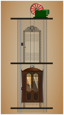 old office: old elevator of a residential building in the context of
