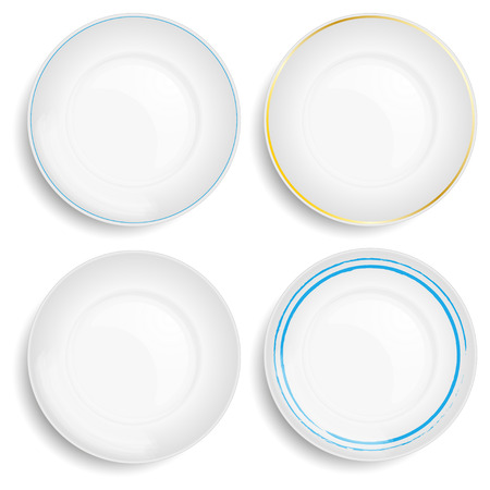 white plate: Empty white plate. Illustration on white background