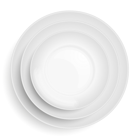 other: An illustration of three white plates stacked on top of each other. Overhead view Illustration