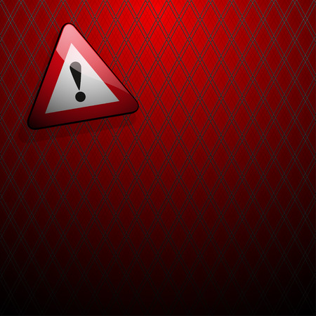 red point: danger sign with an exclamation point on a red background in front grille
