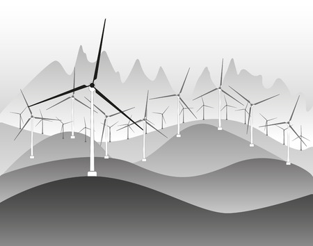 generators: Wind electricity generators and windmills in countryside  landscape ecology illustration background Illustration