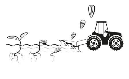 Farmer planten van gewassen in het veld en kiemende zaden