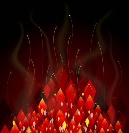 simulations: Red abstract background with simulations of fire and sparks Illustration