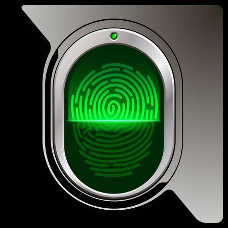 office theft: fingerprint scanner on a black plastic base