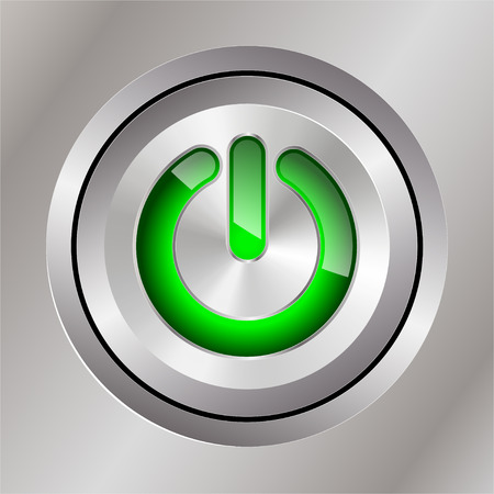 green power: metal power button with integral indicator green Illustration