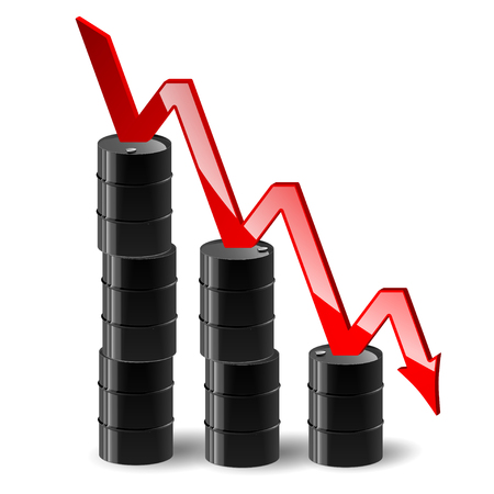 decline in values: stacks of barrels of oil and reduce the cost schedule Illustration
