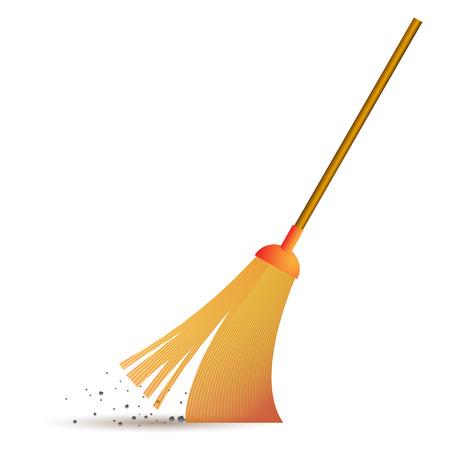 broom handle: yellow broom sweeps debris on the wooden handle Illustration
