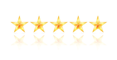 five star: five gold star with reflection and shadow Illustration