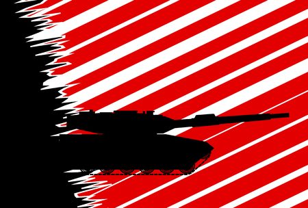 obscurity: Illustration of a military tank on a red and black background