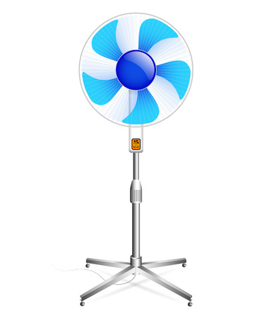circulate: working floor fan with grille and blue blades