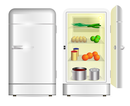 cocina caricatura: Front view of a retro refrigerator and opened refrigerator
