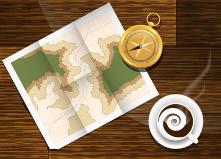 cofee: Paper map lying on the table next to the compass with cup of cofee. Illustration