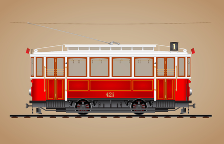 Traditional red tram on tre rail side view Illustration