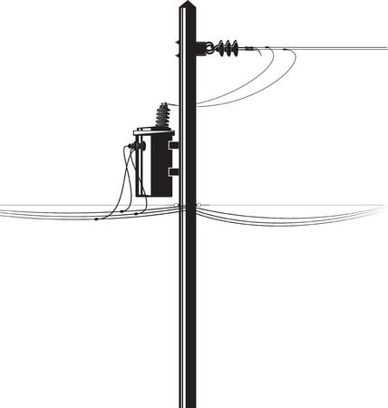 Haute tension transformateur électrique sur un poteau et des fils Vecteurs