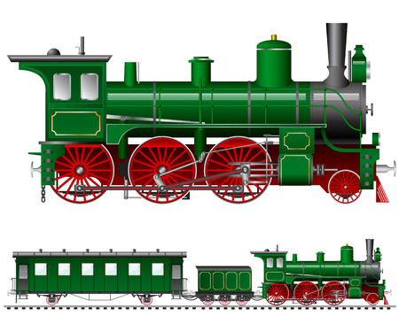 19th century style: green steam locomotive with tender and carriage