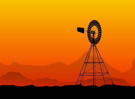 pumping: silhouette of a water pumping old windmill, windmill water tower at the desert Illustration