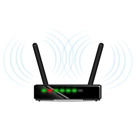 antennas: Black wi-fi router with two antennas on the table Illustration