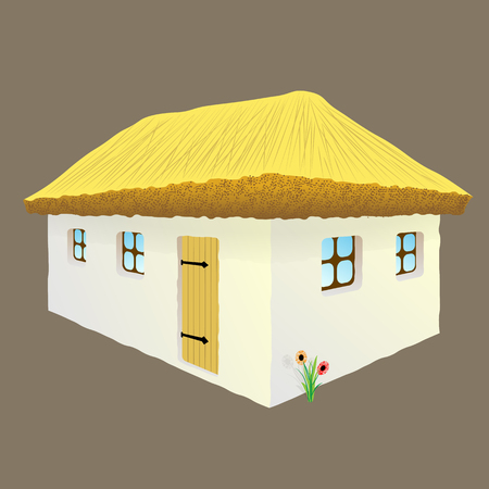 daub: vector illustration of Ukrainian hut image. The symbol of the Ukrainian village. Eco-friendly housing, wattle and daub hut