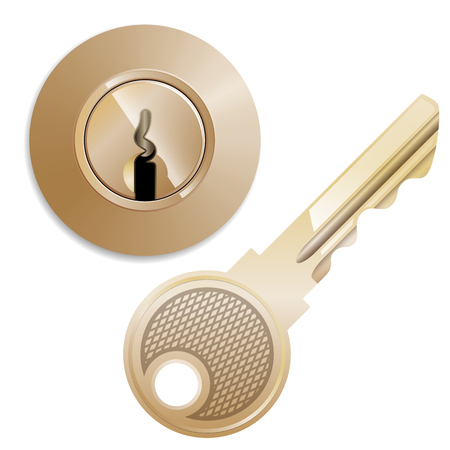round Pin tumbler lock and key with glare