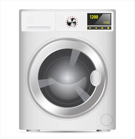 3 d illustration: White Realistic vector washing machine at front view