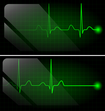 heart ekg trace: Abstract heart beats green cardiogram on monitor Illustration