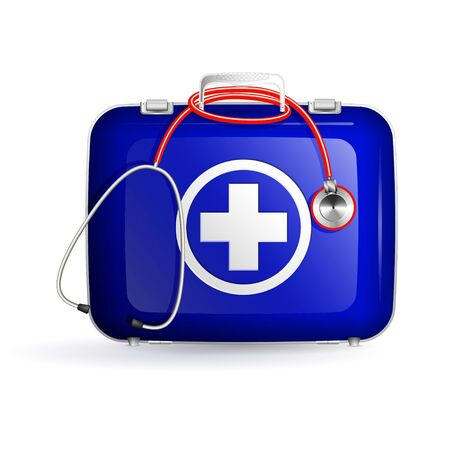 phonendoscope: first aid blue box with stethoscope on white background