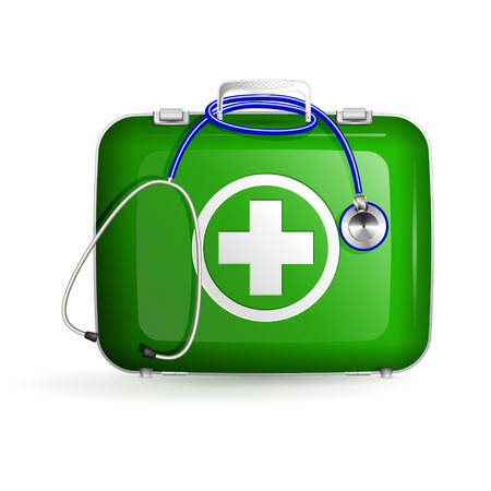 first aid green box with stethoscope on white background