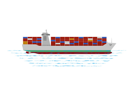depth measurement: container ship with colour container on the ocean Illustration