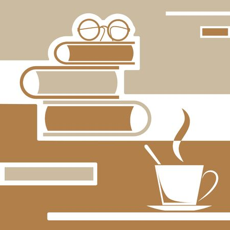 comfort food: brown reading books with coffee and glasses Illustration